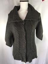 Express Design Studio Women Wolf Gray Coat Cuff 3/4 Sleeve S Wool 4 Buttons - $16.83