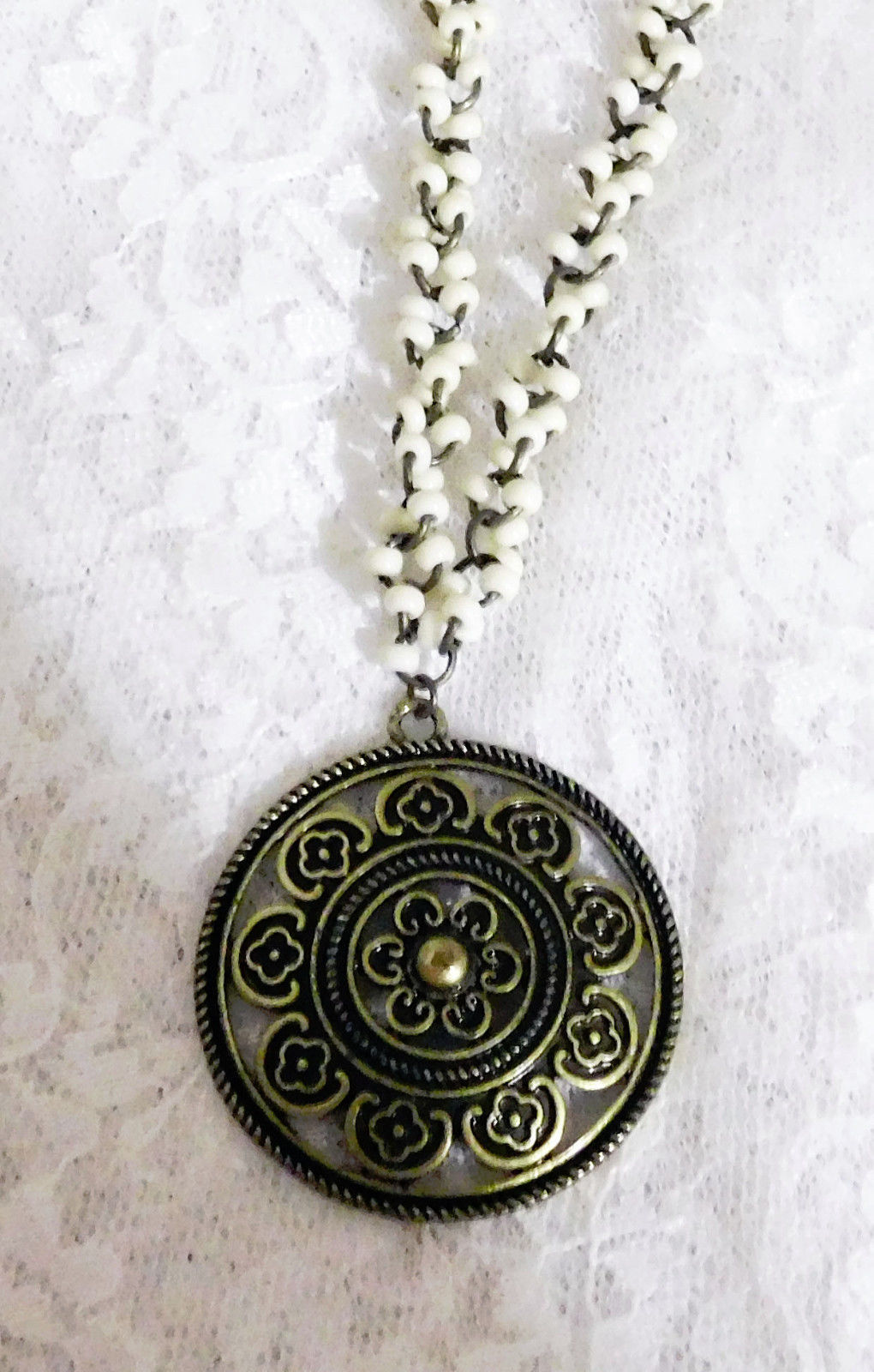 """Cookie Lee Bronze & White Pendant Necklace - Gorgeous & Gothic - 16"""" + 3"""" Extend"""