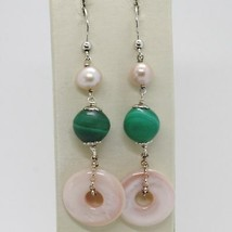 Silver Earrings 925 Tried and Tested Hanging with Pearl Fishing Malachite Nacre image 1