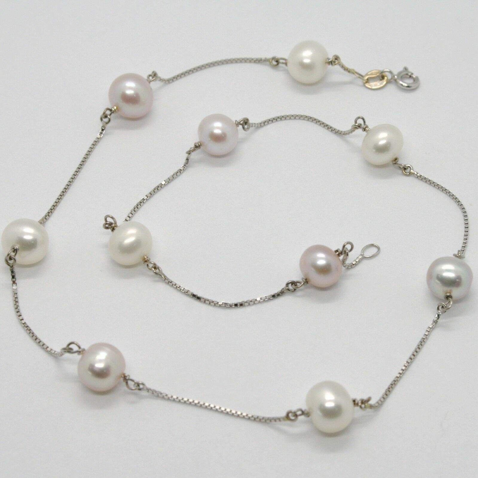 18K WHITE GOLD NECKLACE, VENETIAN CHAIN ALTERNATE PURPLE & WHITE PEARLS 8.5 MM