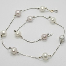 18K WHITE GOLD NECKLACE, VENETIAN CHAIN ALTERNATE PURPLE & WHITE PEARLS 8.5 MM image 1