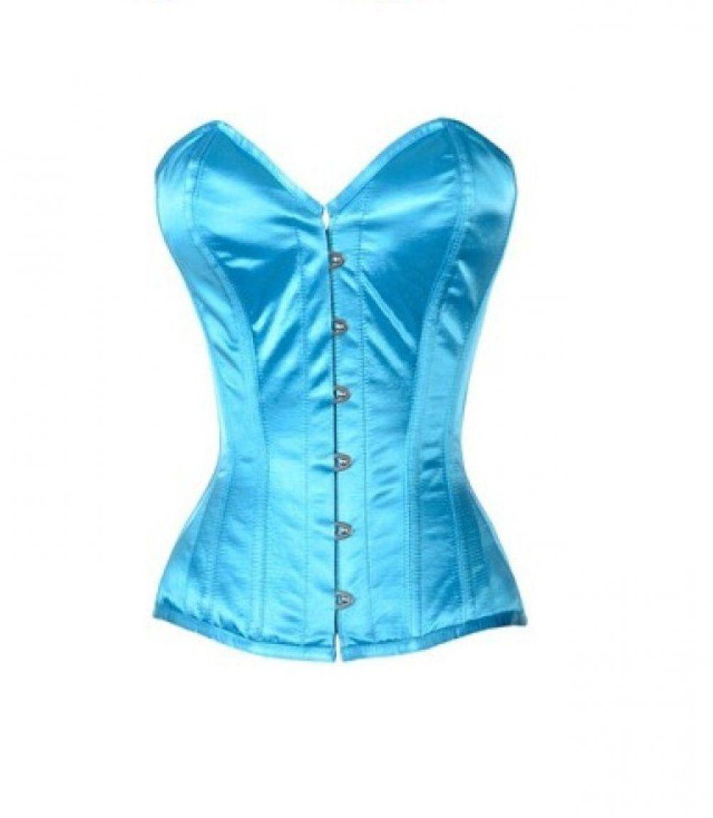 Baby Blue Satin Gothic Burlesque Bustier Waist Shaper Overbust PLUS SIZE Corset