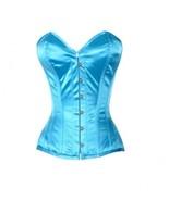 Baby Blue Satin Gothic Burlesque Bustier Waist Shaper Overbust PLUS SIZE... - $78.57