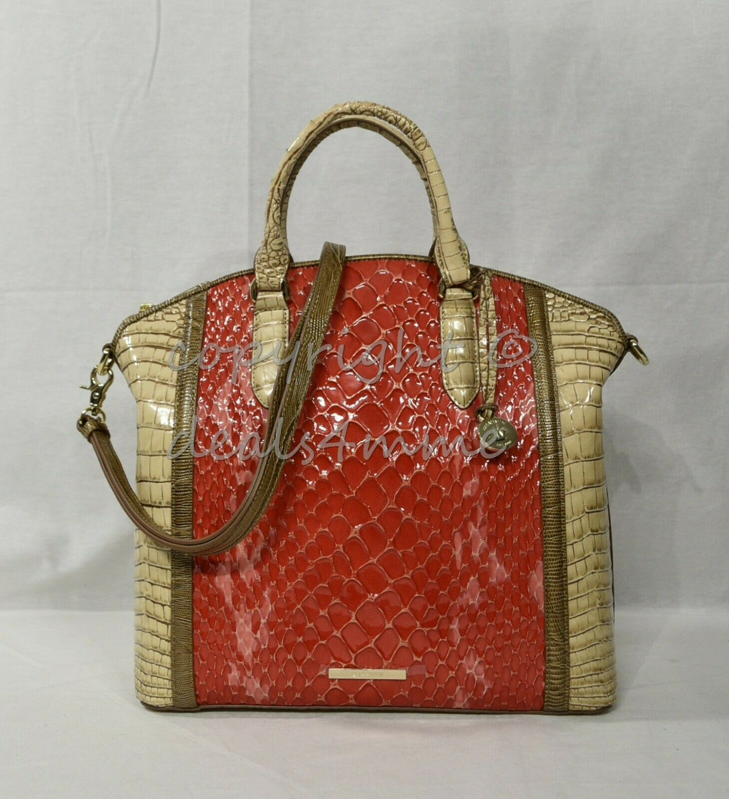 Primary image for NWT Brahmin Large Duxbury Satchel/Shoulder Bag in Candy Apple Carlisle