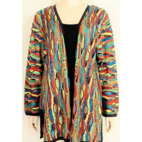 COOGI-sweater-SZ-M-100-silk-cardigan-brilliant-colorful lightweight