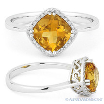 1.41ct Cushion Cut Citrine & Round Diamond Halo Engagement Ring 14k Whit... - €366,04 EUR