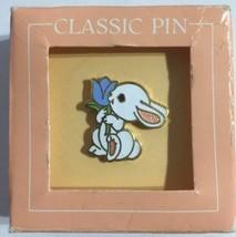 Hallmark Bunny Tie Tac Pin 1983 Rabbit Spring Blue Tulip Original Box - $9.89