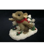 WINTER WHIRL-WIND Charming Tails FIGURE Christmas mouse SNOW evergreen - $19.99
