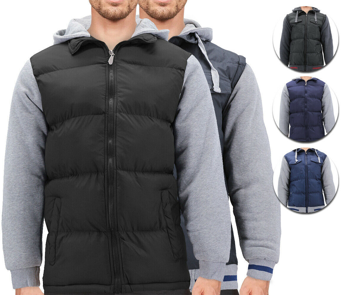 Men's Premium Hybrid Puffer Utility Insulated Hooded Quilted Zipper Jacket