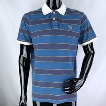 American Eagle Mens Large Blue Stripe Short Sleeve Rugby Polo Shirt  - $233,86 MXN