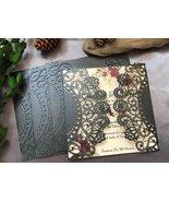 50pcs Pearl Black Laser Cut Wedding Cards,Wedding Invitations,Invitation... - $54.40