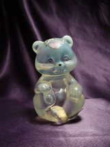 Fenton Hand Painted Flower Opalescent & Clear Teddy Bear Glass Art - $34.65