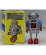 Tin Litho Wind up WALKING ROBOT Space Toy - $15.00