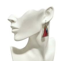 A Sanchez Earrings Sterling Silver Coral Turquoise Mosaic Pierced Dangle... - $210.38