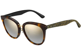 Jimmy Choo Cade OCY Cat Eye Sunglasses Havana CML Glitter/Brown Mirror Gradient - $123.70