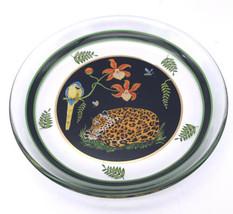 Lynn Chase Jaguar Jungle Dessert Salad Glass Plate Sleeping Facing Left ... - $46.53