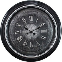 "Large 23"" Wall Clock Silver Trim W/ Raised Numerals, Quartz Movement - NEW - $38.59"