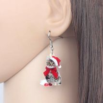 Red Acrylic Christmas Kitten Earrings - One Pair with Random Design and Color image 3