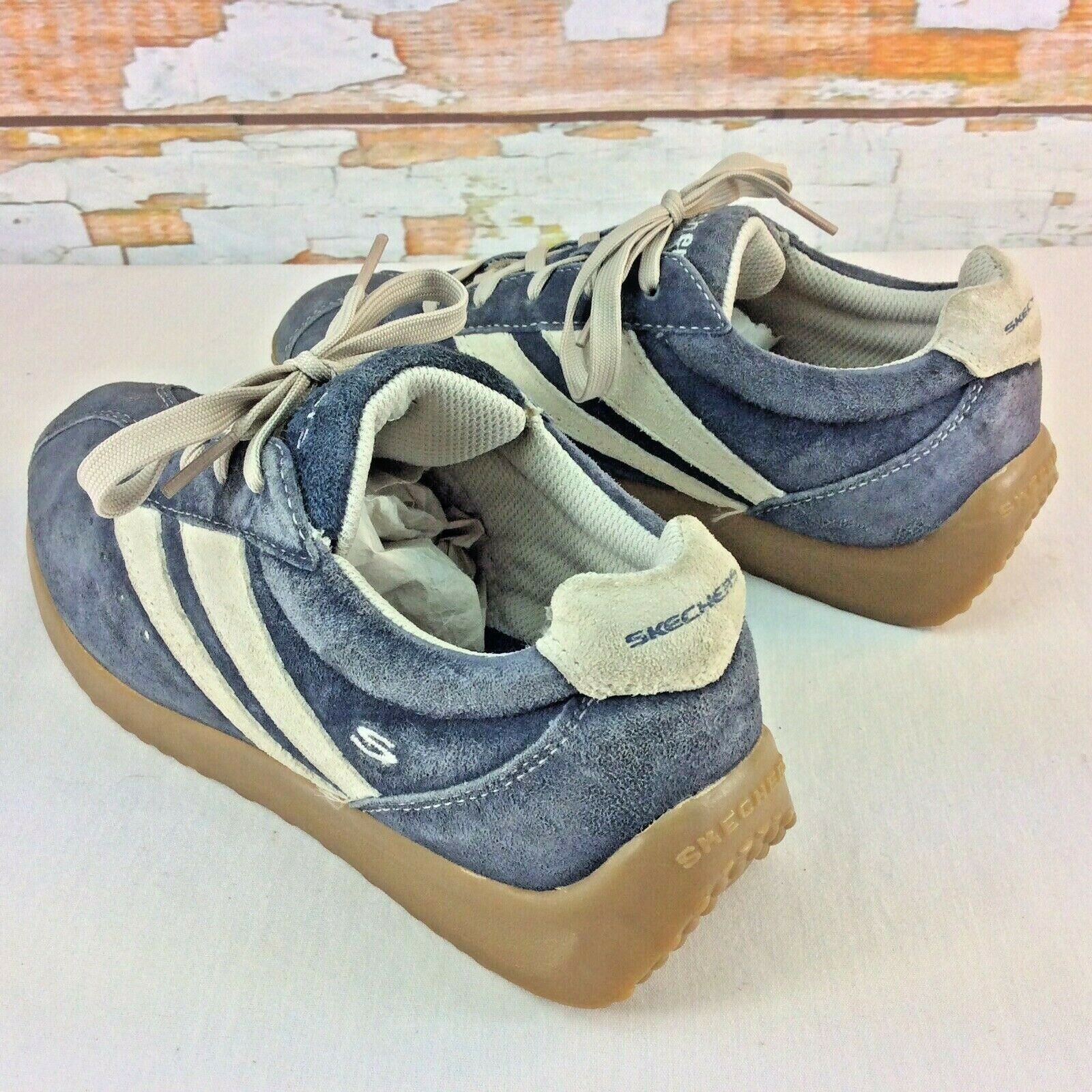 SKECHERS Womens Sneakers 7.5 M Retro Series Blue Suede Scooter Cafe Racer Shoes