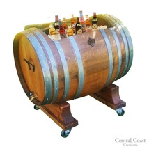 60 Gallon WINE BARREL Ice Chest Furniture Home Decor HoseShoe Handles Ru... - $726.74