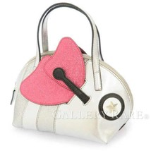 GUCCI Handbag Leather Glitter Silver Pink Black Kids Bee 432698 Italy Au... - $494.95