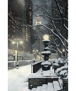 City Lights by Rod Chase New York City Night Street Scene 9x12 Signed  D... - $39.59