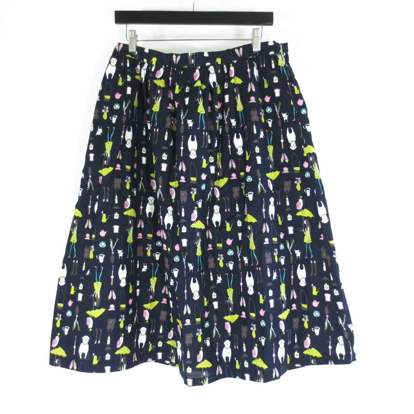 Primary image for XL - Frock Shop Womens Cute Black Retro Puppy Print Midi Cotton Skirt 1122CT