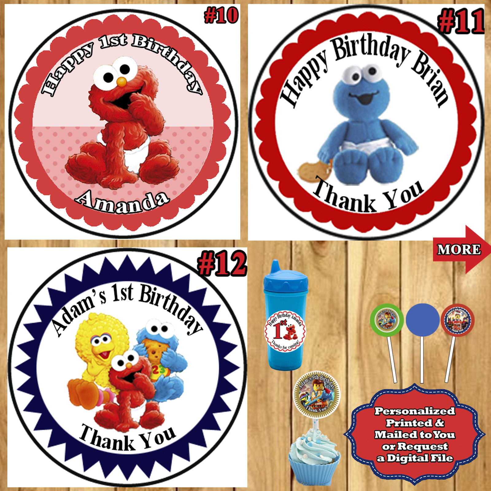 """2/"""" 1.5/"""" 2.5/"""" BUBBLE GUPPIES BIRTHDAY LOLLIPOP ROUND PARTY STICKERS FAVORS"""