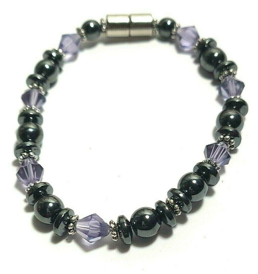 Beaded Bracelet Magnetic Hematite Clasp Single Strand   7 Inch   (MAG-015)