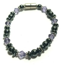 Beaded Bracelet Magnetic Hematite Clasp Single Strand   7 Inch   (MAG-015)