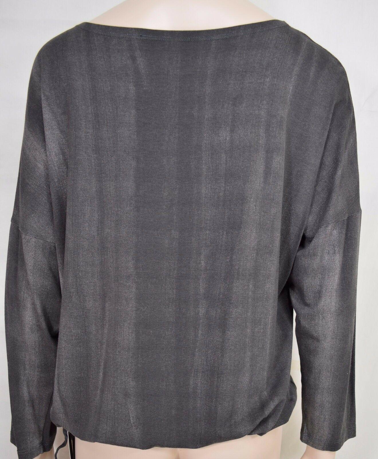 Matti Mamane top SZ M NWT dark gray drawstring waist scoop neck 3/4 sleeve new image 4
