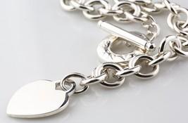 Tiffany & Co. Plata de Ley Vacío Corazón Placa Collar Botón Alargado 41.9cm Ret - $356.40