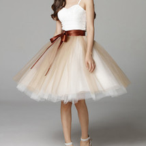 Midi Tulle Ruffle Skirt 6-Layered Ballerina Tulle Skirt Brown White image 1