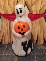 "New  Halloween 34"" Ghost and Cat Holding A Pumpkin Lighted Blow Mold Yar... - $89.09"