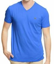 Lacoste Men's Sport Premium Pima Cotton V-Neck Shirt T-Shirt Laser Blue