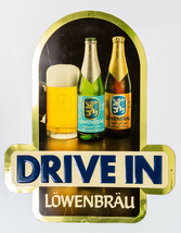 "Vintage Lowenbrau Beer ""DRIVE IN"" Tin Metal Sign - Hard to find / Rare 2... - $118.02"