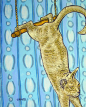 animal Art oil painting printed on canvas home decor  on the trapeze cat - $14.99+