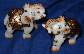 """2"""" Marble Turning Set of two Painted Elephant Safari Carved Home Decor G... - $47.16"""