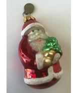 "Vintage Dept 56 Santa Claus Hand Blown Glass Christmas Tree Ornament 2.5""  - $12.00"