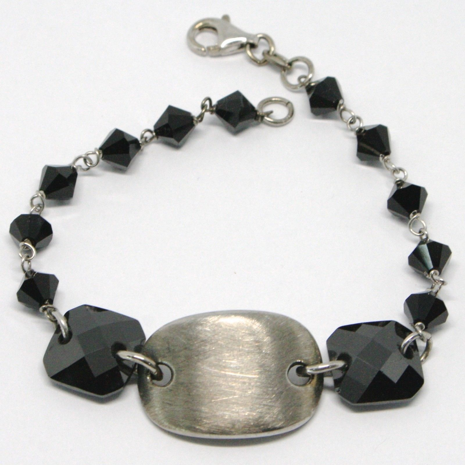 925 STERLING SILVER BRACELET BLACK FACETED SQUARE, WORKED SATIN CENTRAL OVAL