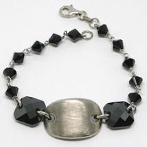 925 Sterling Silver Bracelet Black Faceted Square, Worked Satin Central Oval - $65.55