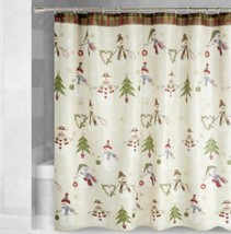 Christmas Fabric Shower Curtain Country Snowmen Decorated Trees - $29.69