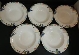 """MIKASA China Ultima Headline  9 1/2"""" Rim Soup Bowls Geometric Pattern Se... - $47.47"""