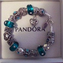 Authentic Pandora Sterling Silver Bracelet w/ Teal  Murano Glass and Cry... - $93.49