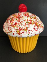 Vintage E S  Molds Ceramic Yellow White Cupcake With Sprinkles Cherry Co... - $74.24