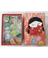 Ohajiki Glass Pieces in Storage Box Geisha Girl Padded Fabric 57 Pc Flat... - $108.90