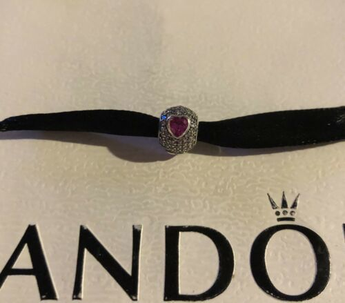 Authentic Pandora In My Heart Charm, Sterling,Clear CZ Synthetic Ruby 791168SRU