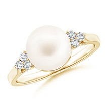 9mm Freshwater Cultured Pearl Ring with Trio Diamonds Gold/Silver - $293.02+