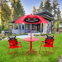 KIDS PATIO TABLE UMBRELLA CHAIRS LADYBUG DECK PORCH GARDEN OUTDOOR LUNCH... - $58.66