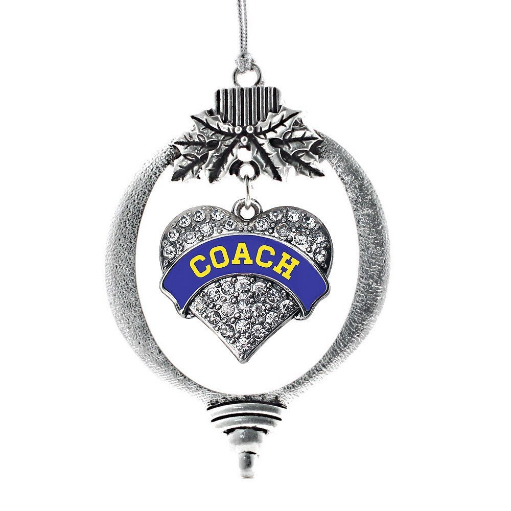 Primary image for Inspired Silver Blue and Yellow Coach Pave Heart Holiday Ornament